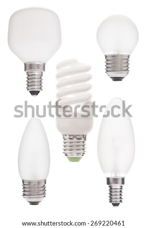 Set of lamps isolated on white background