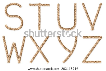 Set of latin rope-characters on white background