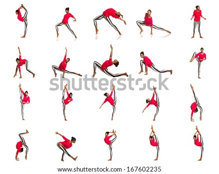 Set of latina dancer girl, isolated on white - stock photo