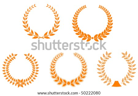 Set of laurel wreaths for design and decorate. Vector version is available - stock photo