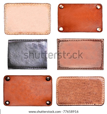 Set of leather blank labels - stock photo