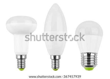 Set of LED light bulb (lamp) Isolated on white background - stock photo