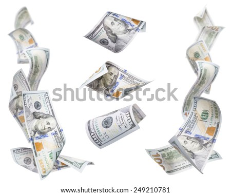 Set of Left and Right Corner Frames of Falling or Floating $100 Bills with 3 Isolated on White. - stock photo