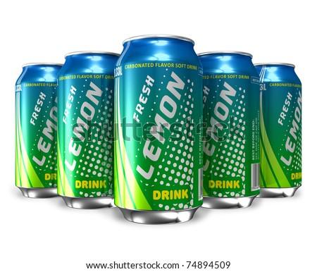 Set of lemon soda drinks in metal cans - stock photo