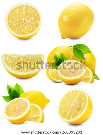 set of lemons isolated on the white background