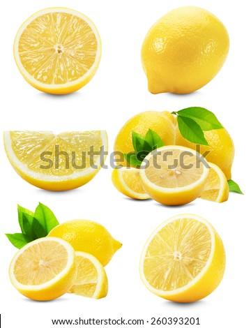 set of lemons isolated on the white background - stock photo