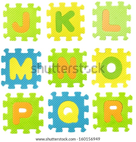 set of letters created from Alphabet puzzle isolated on white background , with clipping path. - stock photo