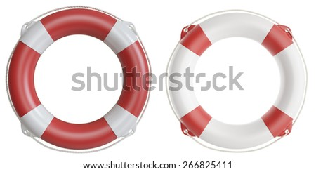 Set of life buoys. 3d illustration high resolution - stock photo