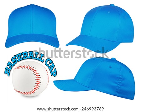 Set of light blue baseball caps with baseball - stock photo