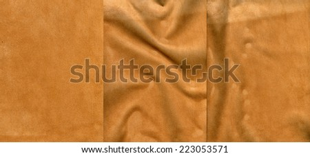 Set of light brown suede leather textures for background - stock photo