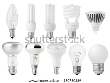 Set of Light bulbs isolated on white - stock photo