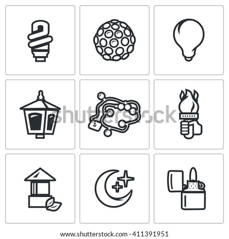 Set of Lighting Icons. Powersave lamp, Lumiere, Incandescent, Street light, Garland, Torch, Architectural, Moonlight, Lighter. Light Bulb, Equipment, Lantern, Christmas lighting, Hand with a torch - stock photo
