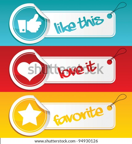 Set of like, love and favorite tags.