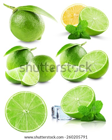 set of limes isolated on the white background - stock photo