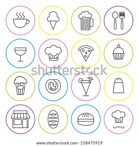 set of line icon related to restaurant - stock photo
