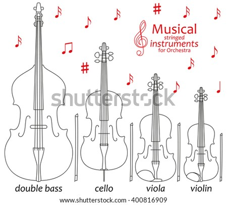 Set of line icons. Musical stringed instruments for orchestra