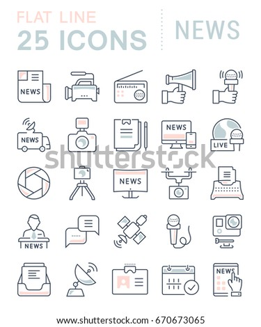 Set of line icons, sign and symbols in flat design news with elements for mobile concepts and web apps. Collection modern infographic logo and pictogram. Raster version.