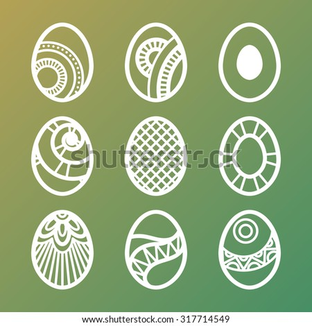 Set of lined Easter eggs icons on gradient background - stock photo