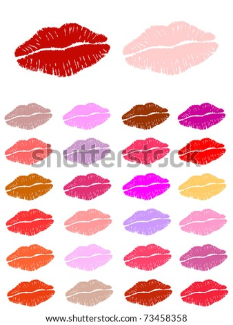 Set of lipstick kisses. Also available as vector.