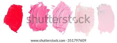 Set of lipsticks smears  lipstick isolated on white background - stock photo