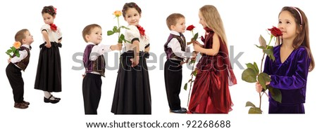 Set of little boys and girls with roses, isolated on white - stock photo