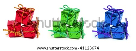 set of little gifts in red, green and blue