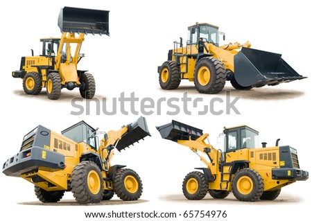 set of Loaders excavators construction machinery equipment isolated - stock photo
