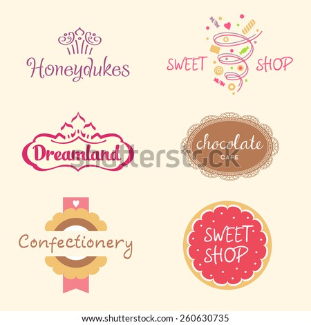Set of logo templates for confectionery, bakery. Candy store. Candy and cookies. Bright, festive style. - stock photo