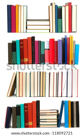 Set of long row textbooks on school - stock photo