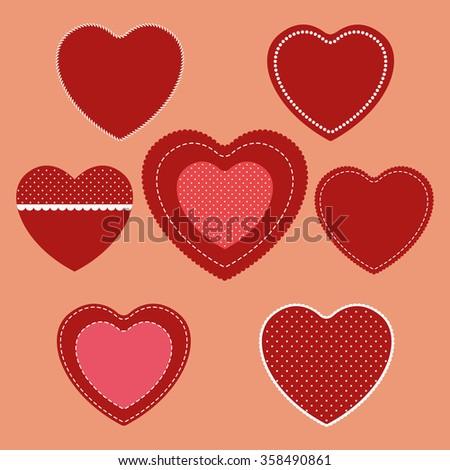 Set of love hearts. - stock photo