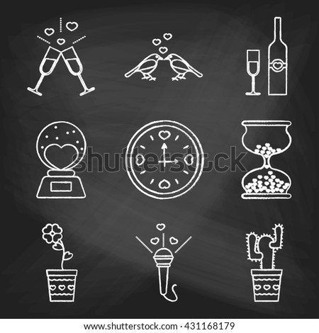Set of love icons painted with white chalk on a blackboard. Decorative icons for Valentine's day. Hands-drawn style. - stock photo