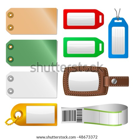 Set of luggage tags and labels. A vector illustration version of this image is also available in my portfolio. - stock photo