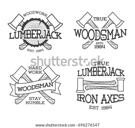 Set of lumberjack and woodsman labels posters stamps banners and design elements on