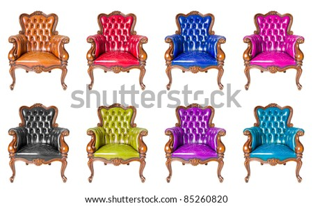 set of luxury armchair isolated - stock photo