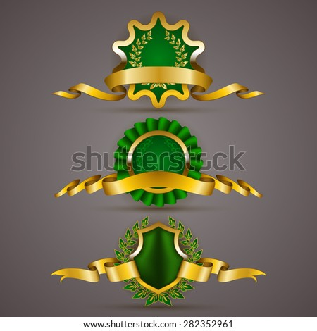 Set of luxury gold badges with floral laurel wreath, ribbons. 100 % pure premium organic, 100 percent fresh. Eco emblem, icon, logo, label, medal, sticker for web, page design. Illustration. - stock photo