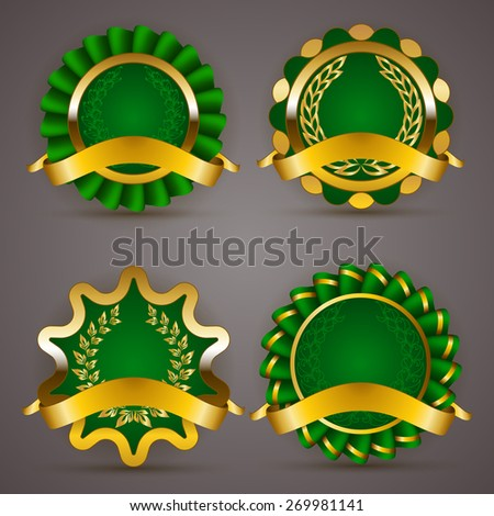 Set of luxury gold badges with floral laurel wreath, ribbons. 100 % quality natural product, premium organic. Eco emblem, icon, logo, label, medal, sticker for web, page design.  Illustration. - stock photo