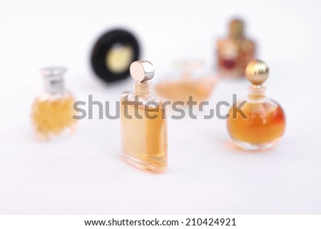 Set of luxury perfume bottles Isolated on white background - stock photo