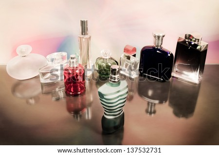 set of luxury perfume bottles.Processed with vintage style. - stock photo