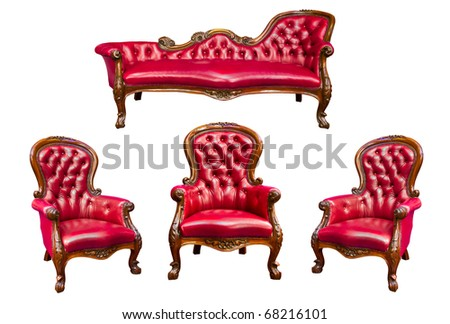set of luxury red leather armchair isolated - stock photo