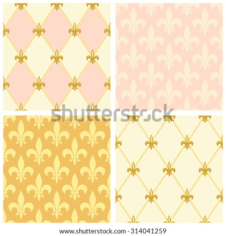 Set of luxury seamless patterns with vintage fleur de lis and diamond shape grid background, ideal for curtains textile or bed linen fabric or interior wallpaper design etc - stock photo