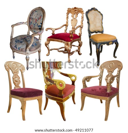 Set of  luxury vintage chairs. Isolated on white with clipping path - stock photo