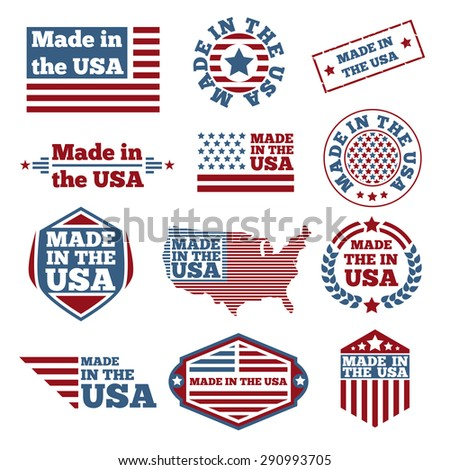 Set of made in the USA labels - stock photo