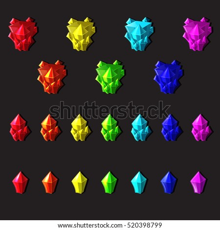 Set of magic crystals or minerals cartoon style on gray background, you can simply regroup elements