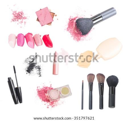 set of make up cosmetics and brushes isolated on white background - stock photo