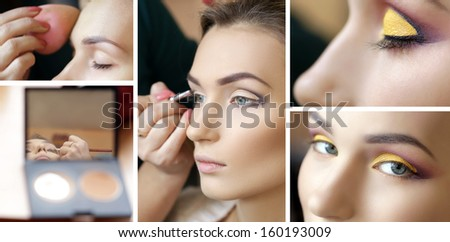 Set of makeup process, backstage, before and after - stock photo
