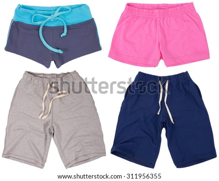 Set of male and female shorts. Isolated on a white background. - stock photo