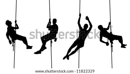 set of male climber - stock photo