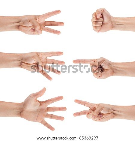 set of male hands isolated on white background - stock photo