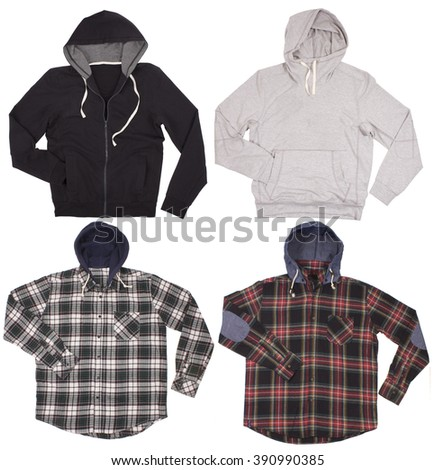 Set of male hoodies shirts. Isolated on a white background. - stock photo