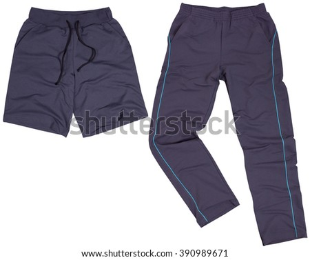 Set of male shorts and sweatpants. Isolated on a white background. - stock photo